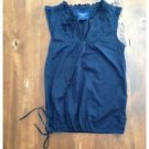 American Eagle Navy Sleeveless Blouse Cotton Button Up Ruffle Neck Size 4 EUC