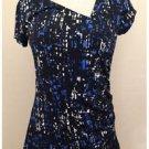 Apt.9 Blue Black White Stretch Modern Print Short Sleeved Blouse Small S