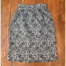 Vintage 1980s All That Jazz Gray Floral Pencil Skirt Acetate Cotton Size 6 EUC