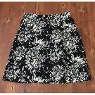apostrophe Black White Modern Pattern Linen Skirt Mini Size 10 EUC Lined