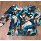 Claudia Richard Aqua Brown Bold Pattern Stretch Blouse Peasant Medium M EUC