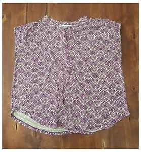 Liz Claiborne Purple Ivory Victorian Print Rayon Top Loose Fit Large L