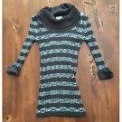 Love By Design Ribbed Knit Top Sweater Gray Striped Stretch Aqua Jrs Medium M