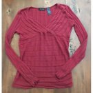 Axcess Light Red Ribbed Think Knit Sweater Crossover Top Large L