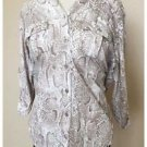 Liz Claiborne Snakeskin Tan White Button Down Shirt Cotton Modal Medium M