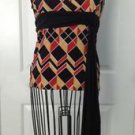 Ing Geometric Pattern Sleeveless Blouse Stretch Medium M EUC Brown Orange Retro