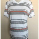 American Rag Cie Striped V-Neck T-Shirt Cotton Blend Gray White Orange Small S