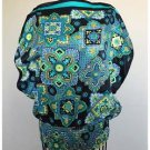 Takara Black Aqua Paisley Loose FIt Open Side Blouse Satin Feel Small S