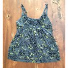 Arizona Jean Co. Dark Gray Cotton Tank Blouse Floral Yellow Large L