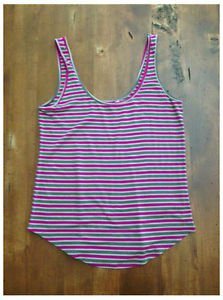 Old Navy Tank Top Striped Rayon Taupe Magenta Tan Medium M EUC