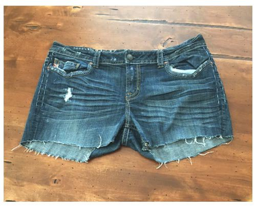 MEK Denim Dark Wash Distressed Cut Offs (33W)