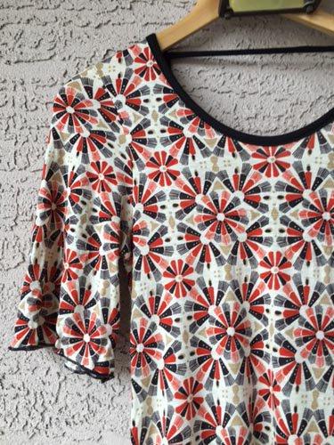 Mixie Retro Feel Geometric Floral Print Dress (JrS)
