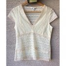 Banana Republic Antique White Floral Lace Top (S)