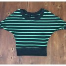 Pure Rebel Charcoal Gray & Electric Green Striped Sweater (S)