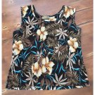Creative Design Works Brown Floral Ribbed Sleeveless Top (XL)
