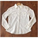 So White Cotton Button Down Blouse (JrXL)