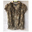 East 5th Petite Leopard Ruffled Blouse (PS)