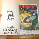 Drawing Hand Signed Matt Groening Simpsons w/Business Card Comic Con Book PSADNA