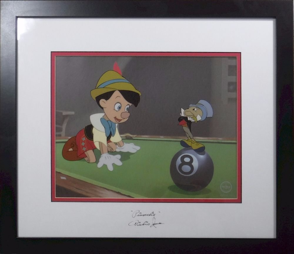 "Disney Sericel Cel Dickie Jones 1940 Hand Signed ORIGNAL voice ""Pinocchio"""