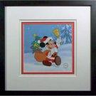 Santa Mickey Disney sericel Framed Certified Brand NEW Frame Snow Background