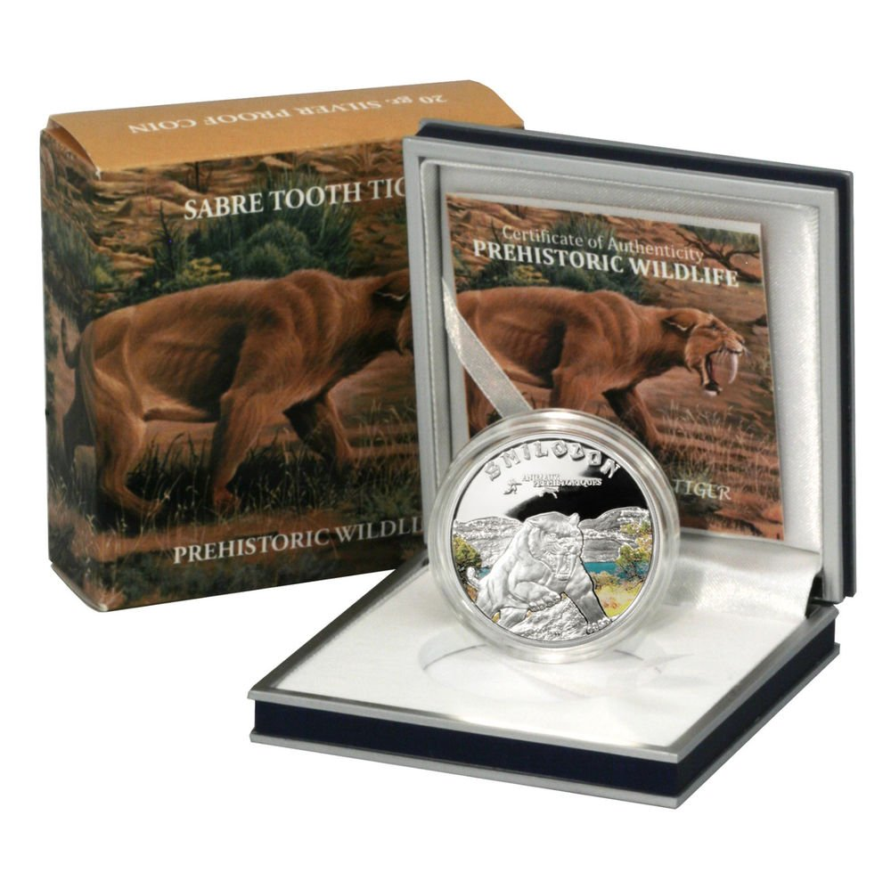 Sabre Toothed Tiger Silver Proof 1000 Francs Coin Ivory Coast 2011 Ltd. Ed. !
