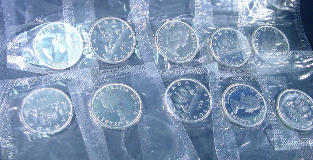 10 Canada 1963 PROOF-LIKE UNCIRCULATED Silver Dollars KM#54 Original Mint Wrap