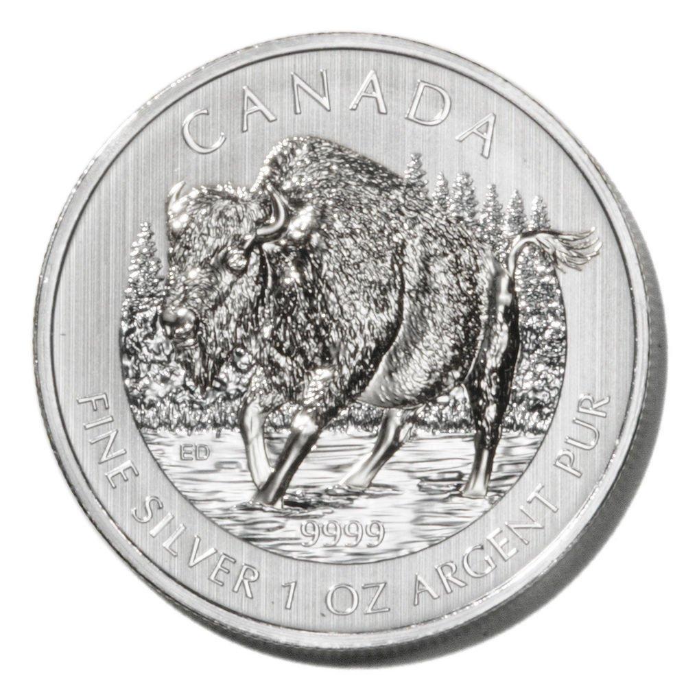 Canada Bison Silver $5 Coin 2013   1oz .9999 fine UNC Ltd Edition