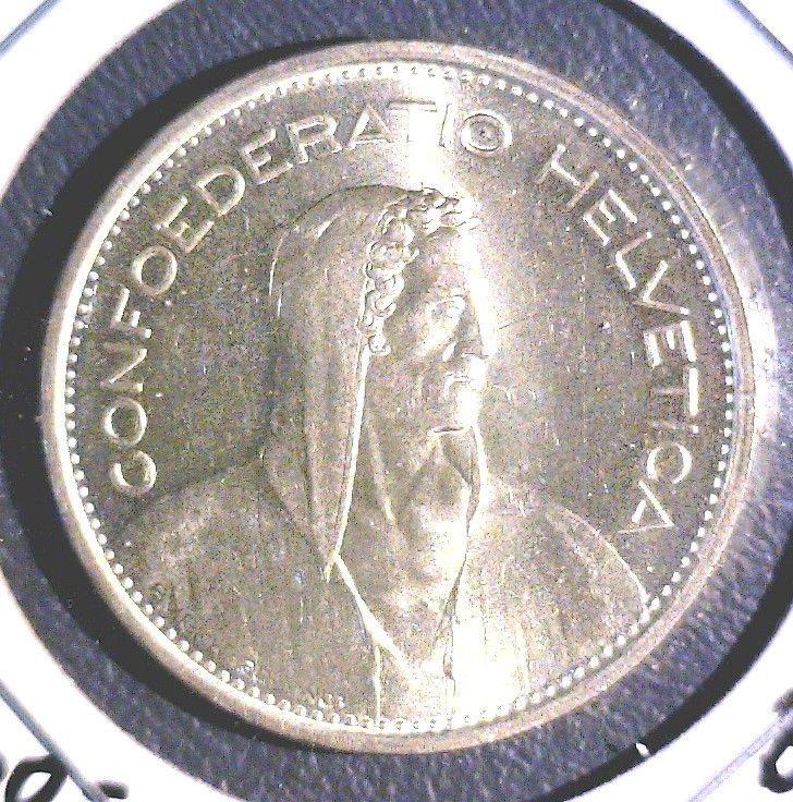 1967 Switzerland Silver 5 Francs Coin BU KM#40    .4027 ASW