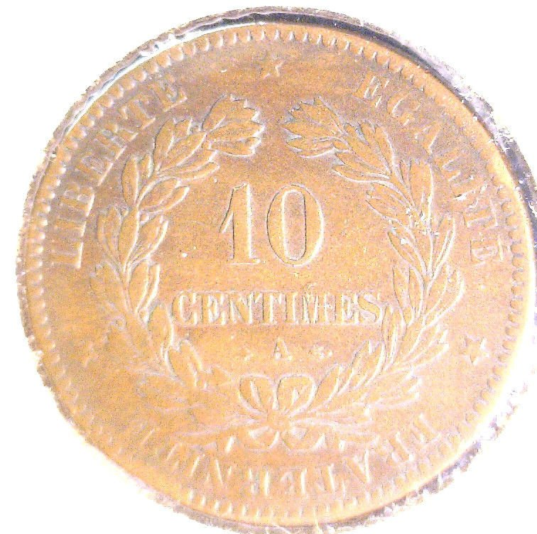 1871 A France 10 centimes coin KM#815.1