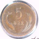 1874 Denmark 5 Ore Coin KM#794.1 Dolphin and Oats