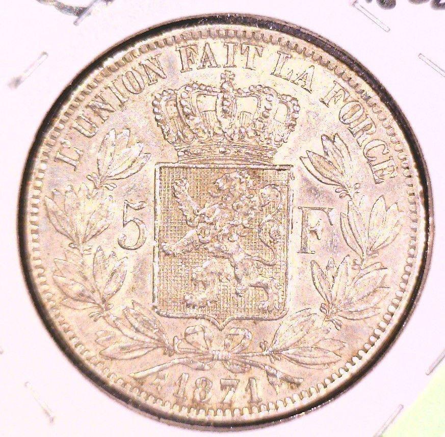 1871 Belgium 5 Francs Silver Coin XF KM#24   .7234 ASW