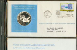 United Nations Sterling Silver Proof Medal and First Day Cover 1977 Letter Stamp