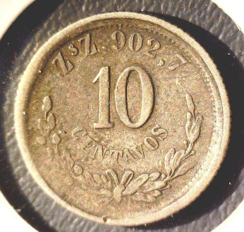1893 ZsZ 902,7 Mexico 10 centavos silver coin Zacatecas    2nd Republic