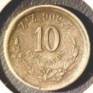 1893 ZsZ 902,7 Mexico 10 centavos silver coin Zacatecas    2nd Republic