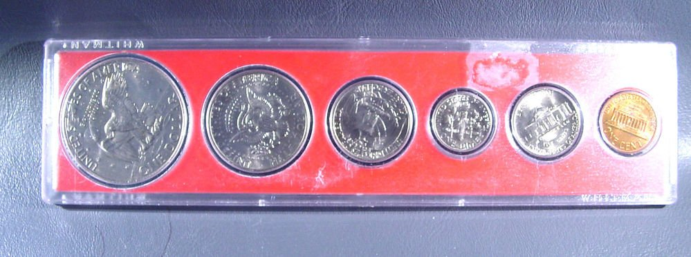 1978 US Coins Collector's Year Set 6 coins including Ike and Kennedy in Whitman