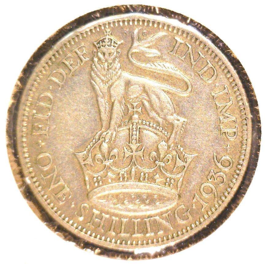 1936 Great Britain Silver Shilling Coin KM#833          .0909 ASW