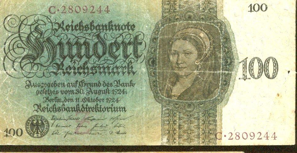 1924 Germany 100 Mark Note Pick #178  Weimar Republic