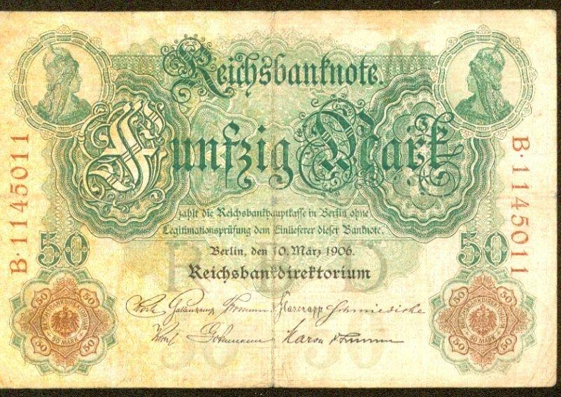 1906 Germany 50 Mark Note Pick #26  German Empire