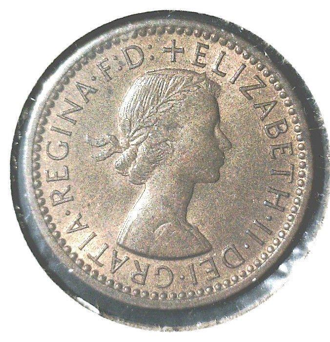 1954 Great Britain Farthing Coin  KM#843 UNCIRCULATED ! Elizabeth and Wren Bird