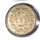 1883 EB Sweden Silver 50 Ore Coin KM#740   .0964 ASW  Brodrafolkens Val