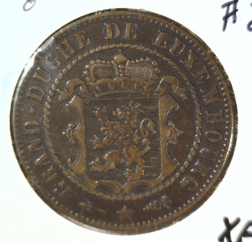 1870 Luxembourg 10 centimes coin KM#23.1  Extremely Fine Condition  #2