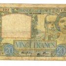 1940 France 20 francs note Pick#92 Vichy Nazi Occupation