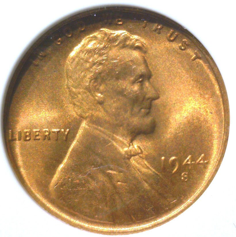 1944 S Lincoln Wheat Cent ANACS MS66 RED