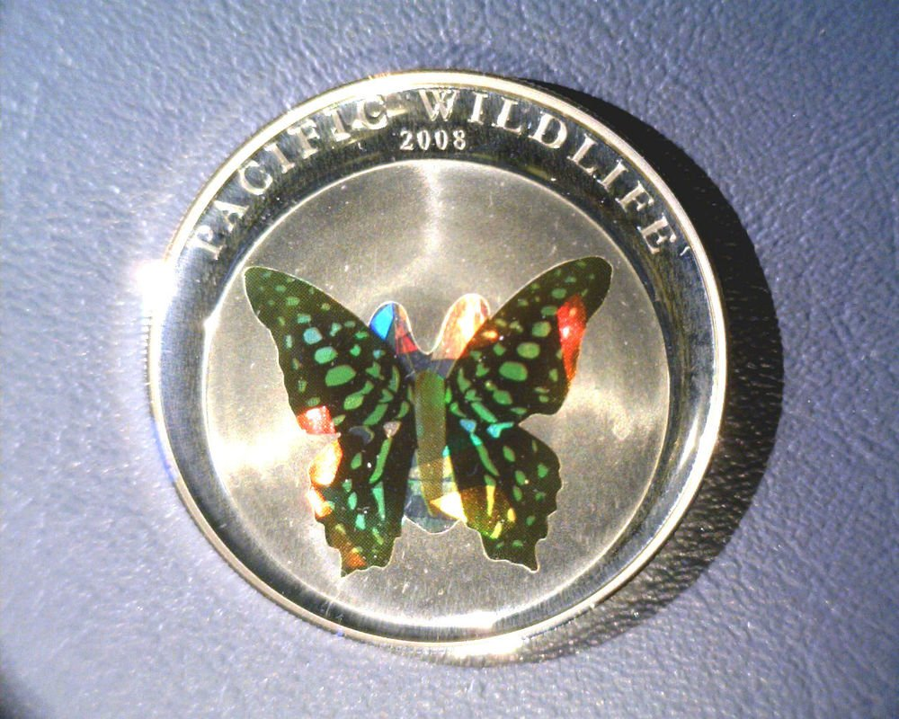 2008 Palau Silver Proof Holographic Sulfur Butterfly $5 Coin KM#170 .7435 ASW