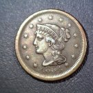 Braided Hair Large Cent 1854   AU details    dipped and recolored