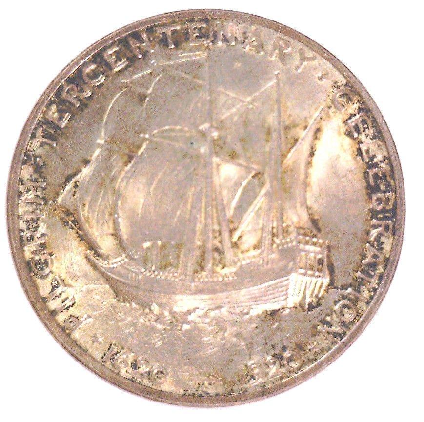 1920 Pilgrim Tercentenary silver 50 cent coin NGC MS65 Mayflower Ship 1 of 1051