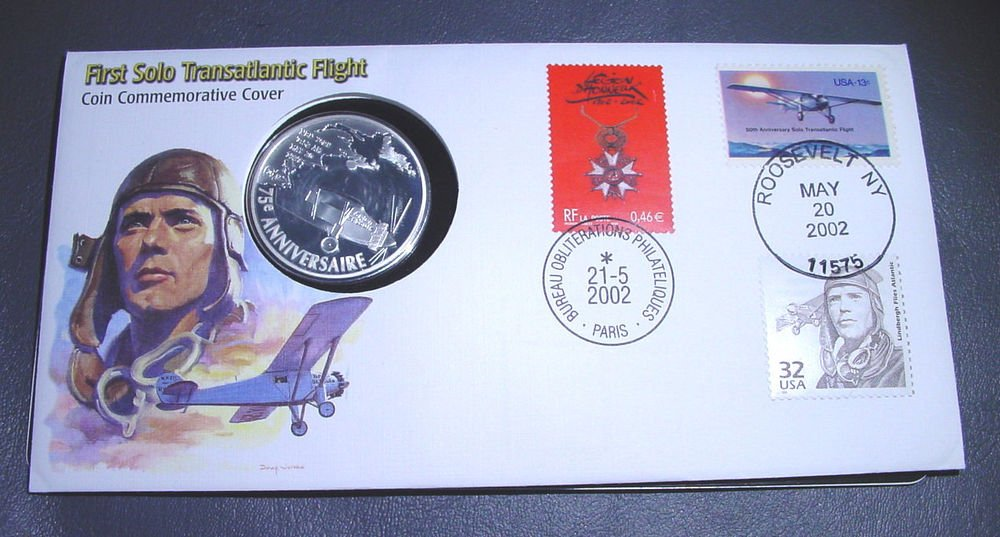 2002 France Silver Proof 1.5 Euros Lindbergh Spirit of St. Louis KM#1310 & FDC