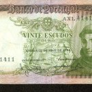 1964 Portugal 20 Escudos Bank Note Pick#167 Uncirculated * Below Wholesale !