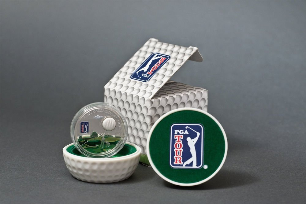Cook Islands  - PGA Tour Golf Ball - $5 - 2012 - Proof Silver Colored Coin  COA