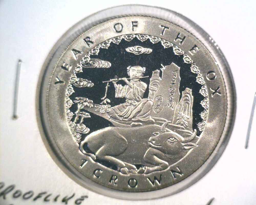 1997 Isle of Man Proof-like 1 crown coin KM#725         Year of the Ox